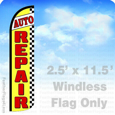Auto Repair - Windless Swooper Feather Flag 2.5x11.5 Banner Sign - Yz