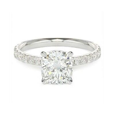 1.51 ct E VS2 CUSHION CUT GIA DIAMOND ENGAGEMENT RING