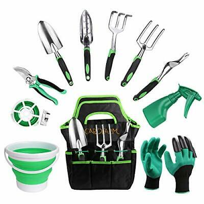 GARDFARM Garden Tool Set,11 Pieces Stainless Steel Hand Tool Kit Garden Tote Bag