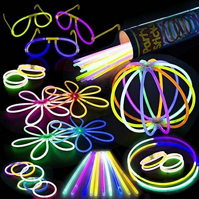 100 8 Premium Bulk Glowsticks Glow Stick Party Pack: Necklaces! Mixed Colors