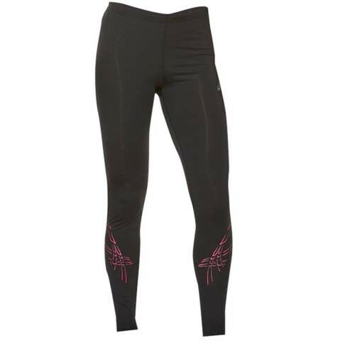 Asics Womens Black Stripe Knee Running Reflective Leggings XS-L Free P/&P