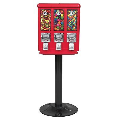Triple-vending Gumball Machine With Heavy Duty Cast Iron Stand Accepts Quarters