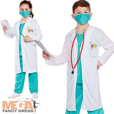 Hospital Doctor Kids Fancy Dress Surgeon Uniform Occupations Girls Boys Costume - Occupations Fancy Dress