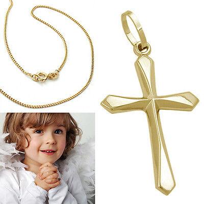Echt Gold 333 Kinder Kommunion Baby Taufe Kreuz Anhänger mit Kette Silber 925 VG
