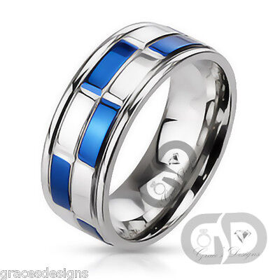 Bridal Duo Band (Mens Wedding Engagement Band Duo Tone Blue IP Checker 316L Stainless Steel Ring  )