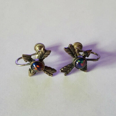 Vintage 50's Multi-Colored Stone with Arrows Screw Back Fashion Earrings