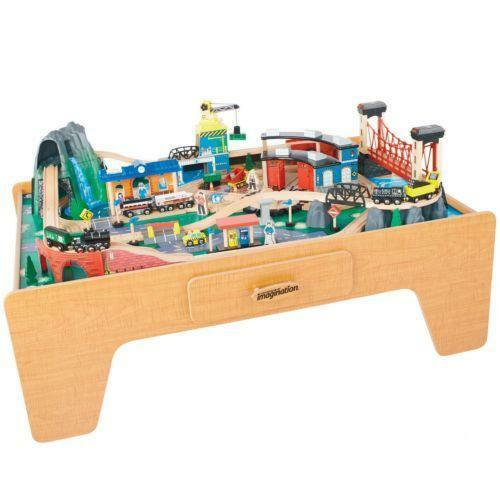 Train table toys games ebay for 100 piece mountain train set and wooden activity table