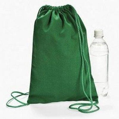 Green Drawstring Backpacks (1 Dozen) - BULK