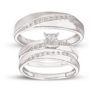 His And Hers White Gold Wedding Rings