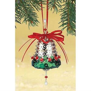 Craft kit makes 2 Silver Bell Ornaments  Beads Sequins  Red Ribbon