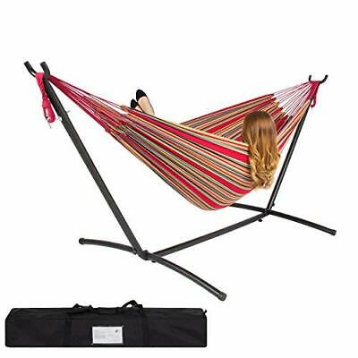 DOUBLE HAMMOCK WITH SPACE SAVING STEEL STAND INCLUDES PORTABLE CARRYING CASE (RE