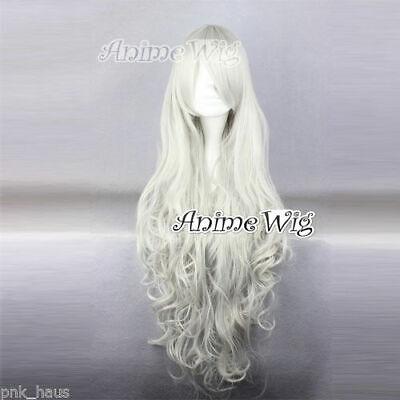 FAIRY TAIL Mirajane·Strauss Kostüm Perücke Anime Voll gewellt Silver-weiß 80cm (Mirajane Cosplay Kostüm)