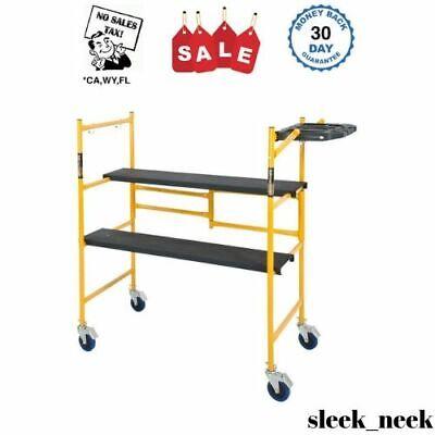 Rolling Scaffolding Ladder Platform 500 Lb Load Capacity Bench Indoor Folding