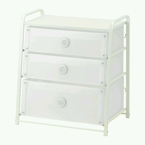 3 Drawer Chest White Plastic Dresser Bedroom Clothes Storage Nightstand  Cabinet. IKEA 3 Drawer Chest White Plastic Dresser Bedroom Storage