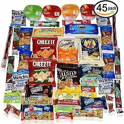 Blue Ribbon Care Package 45 Count Ultimate Sampler Mixed Bars, Cookies, Chips, C