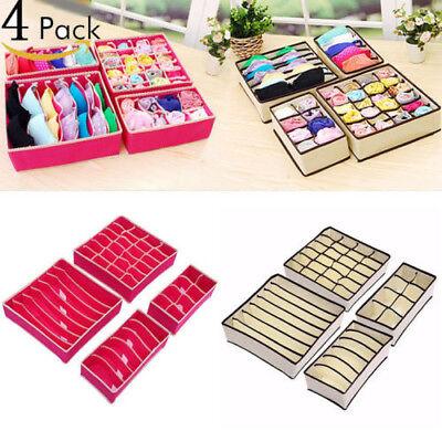 US 4 Foldable Organizer Drawer Storage Box Case For Bra Ties Underwear Socks