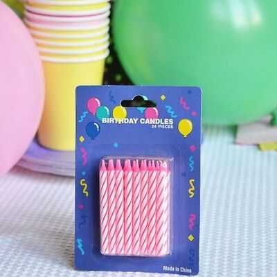 White Striped Cake Candles (48 Pink Candy Striped Birthday Candles 2