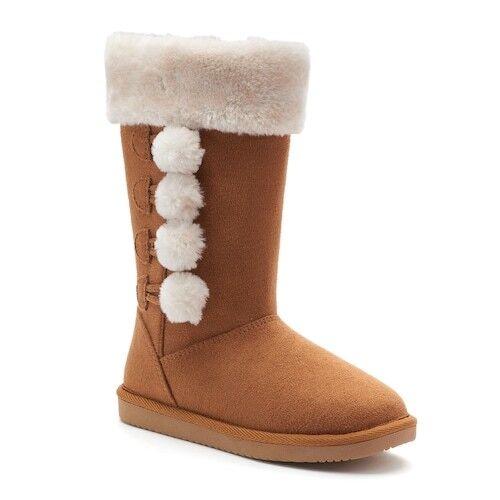 SO Marisa Girls Mid Calf Boot Faux Fur Lined Trim Chestnut Pom Pom Accent Sz 5