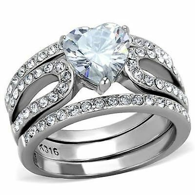 Heart CZ Ring Wedding Engagement 3 Piece Set 3.15Ct 316 Stainless Steel sz 9 10