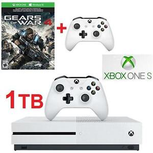 NEW XBOX ONE S GOW4 CONSOLE BUNDLE MICROSOFT 1TB - GEARS OF WAR 4 BUNDLE + EXTRA CONTROLLER - VIDEO GAMES - 107793400