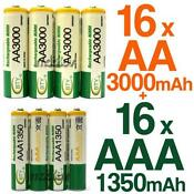 16 AA AAA Rechargeable Batteries