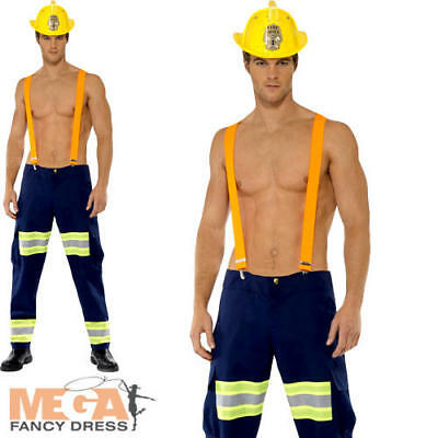 Fireman Fever Mens Uniform Fancy Dress Adult Sexy Fire Fighter Costume Outfit - Mens Fireman Outfit