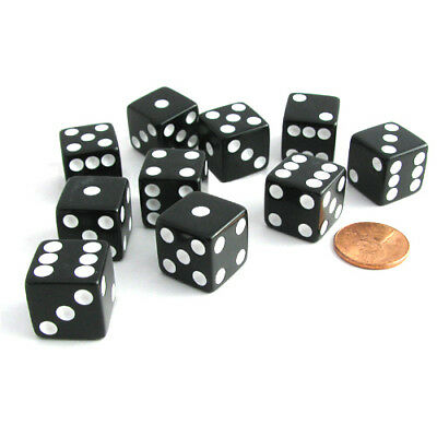 Set of 10 Six Sided Square Opaque 16mm D6 Dice - Black with White Pip Die - Square Game