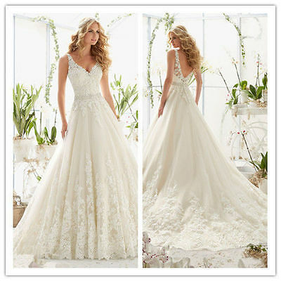 New White Ivory Lace Bridal Gown Wedding Dress Size 6 8 10 12 14 16