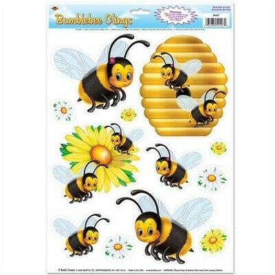 Bumblebee Window Clings Bee Summer Spring Picnic Floral Party Decorations](Spring Window Clings)