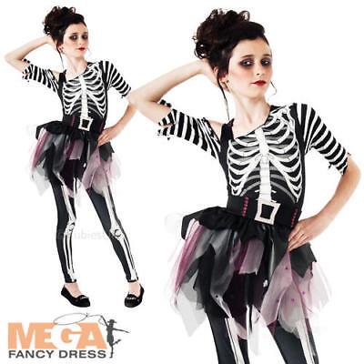 Skeleton Glow In Dark Ballerina Girls Fancy Dress Halloween Kids Childs Costume ()