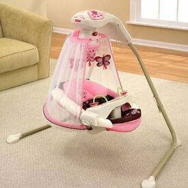 Fisher Price Pink & White Butterfly Cradle 'n and Swing - Mocha Butterfly