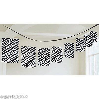 ZEBRA STRIPES PAPER LANTERN GARLAND ~ Birthday Party Supplies Room Decorations - Zebra Party Decorations
