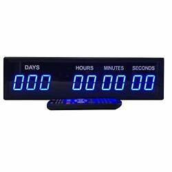 BTBSIGN Blue 1.8 9Digits Large LED Countdown Count Up Days Clock with Wireless