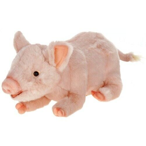 """Hansa Penelope Pig Plush Toy 11"""" Long, Very Realistic Details, Squeezable"""