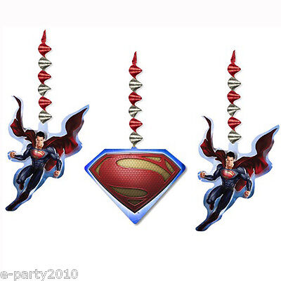 SUPERMAN Man of Steel HANGING SWIRL DECORATIONS (3) ~ Birthday Party Supplies - Superman Party Decorations
