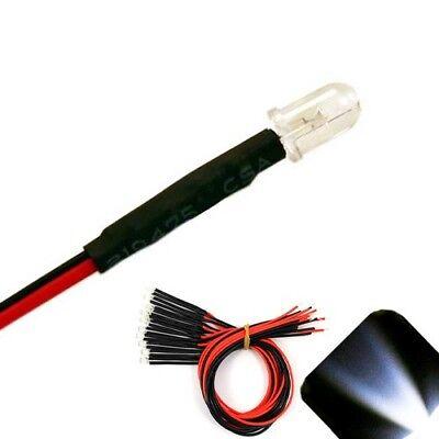 20 X Pre Wired 9v 5mm Cool Clear White Leds Prewired 9 Volt Dc Led Light 8v 7v
