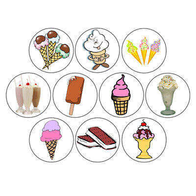 ICE CREAM button set sundae milkshake cone bar dessert novelty cute party favor
