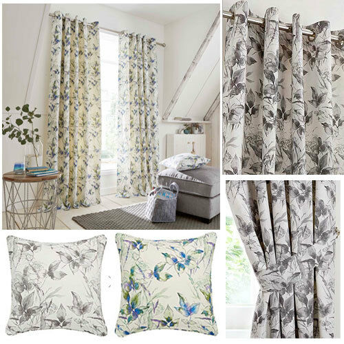 curtains - Stella Floral Print Lined Eyelet Ring Top Curtains - NOW £10, £15 & £20
