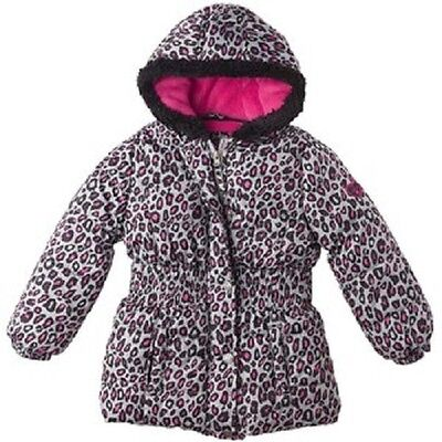 (PINK PLATINUM BIG GIRLS CHEETAH HOODED PUFFER JACKET-CHECK FOR SIZE)