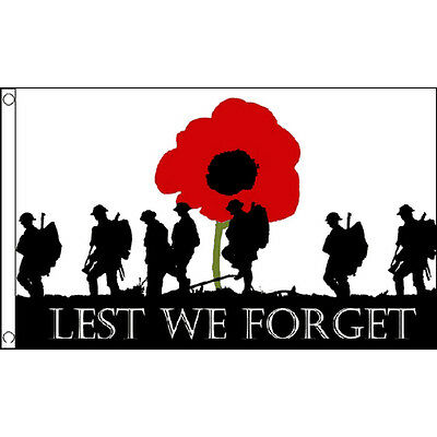 Lest We Forget Large Flag 8ft x 5ft Remembrance Sunday Poppy Banner Army