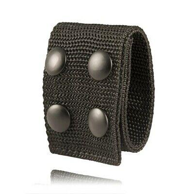 Boston Leather 5496-5 2 Black Nylon Double Wide Belt Keeper W Black Snap