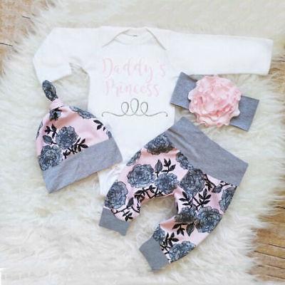 US Newborn Toddler Baby Girls Clothes Romper Jumpsuit Bodysuit+Pants Outfits Set