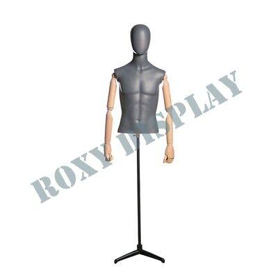 Male Matt Grey Egghead Wooden Arms Mannequin Dress Form Display Mz-qs7