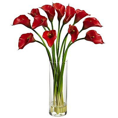 Nearly Natural Calla Lily - Nearly Natural 1187-RD Mini Calla Lily Silk Flower Arrangement NEW