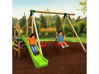 Little tikes wooden swings and slide set