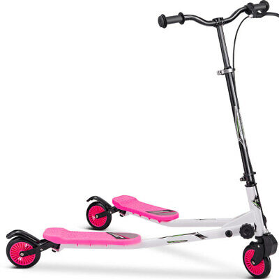Pink Foldable Kids Swing Scooter Push Drifting Adjustable Handle for Kids Age 3+