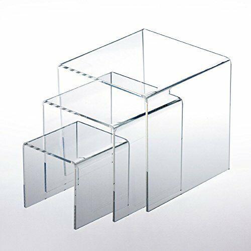 "Tytroy Clear Acrylic Display Riser Step Stand Jewelry Showcase 3"" 4"" 5"" (1 Set)"