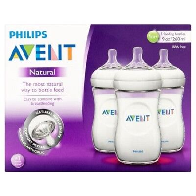Philips AVENT BPA Free Natural Feeding 9 oz Bottle 1M+, 3 Count ()