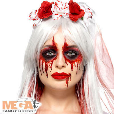 Blood Drip Bride Cosmetic Kit Ladies Fancy Dress Undead Gory Costume Facepaints