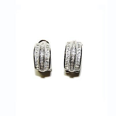 Baguette & Round Center Clear 5A Cubic Zirconia CZ Rhodium Omega BK Hoop Earring